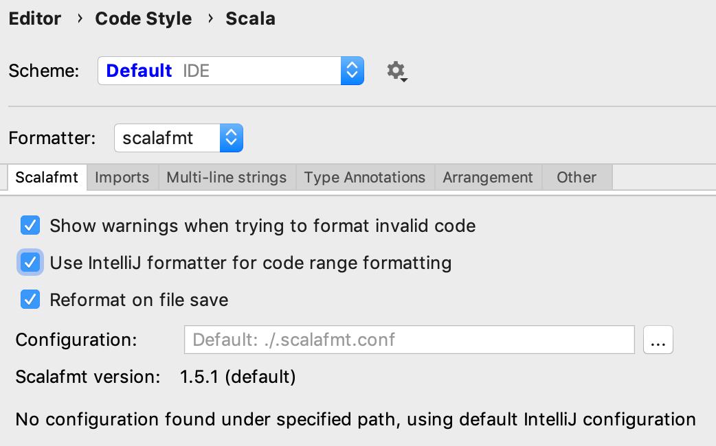 Scalafmt settings