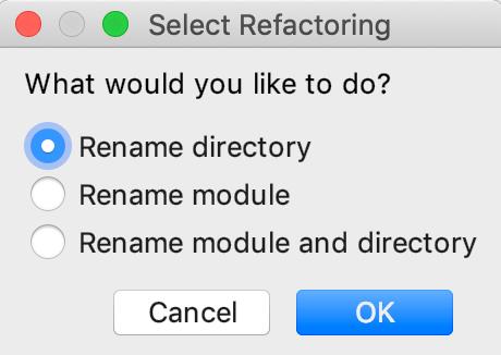 Select refactoring dialog