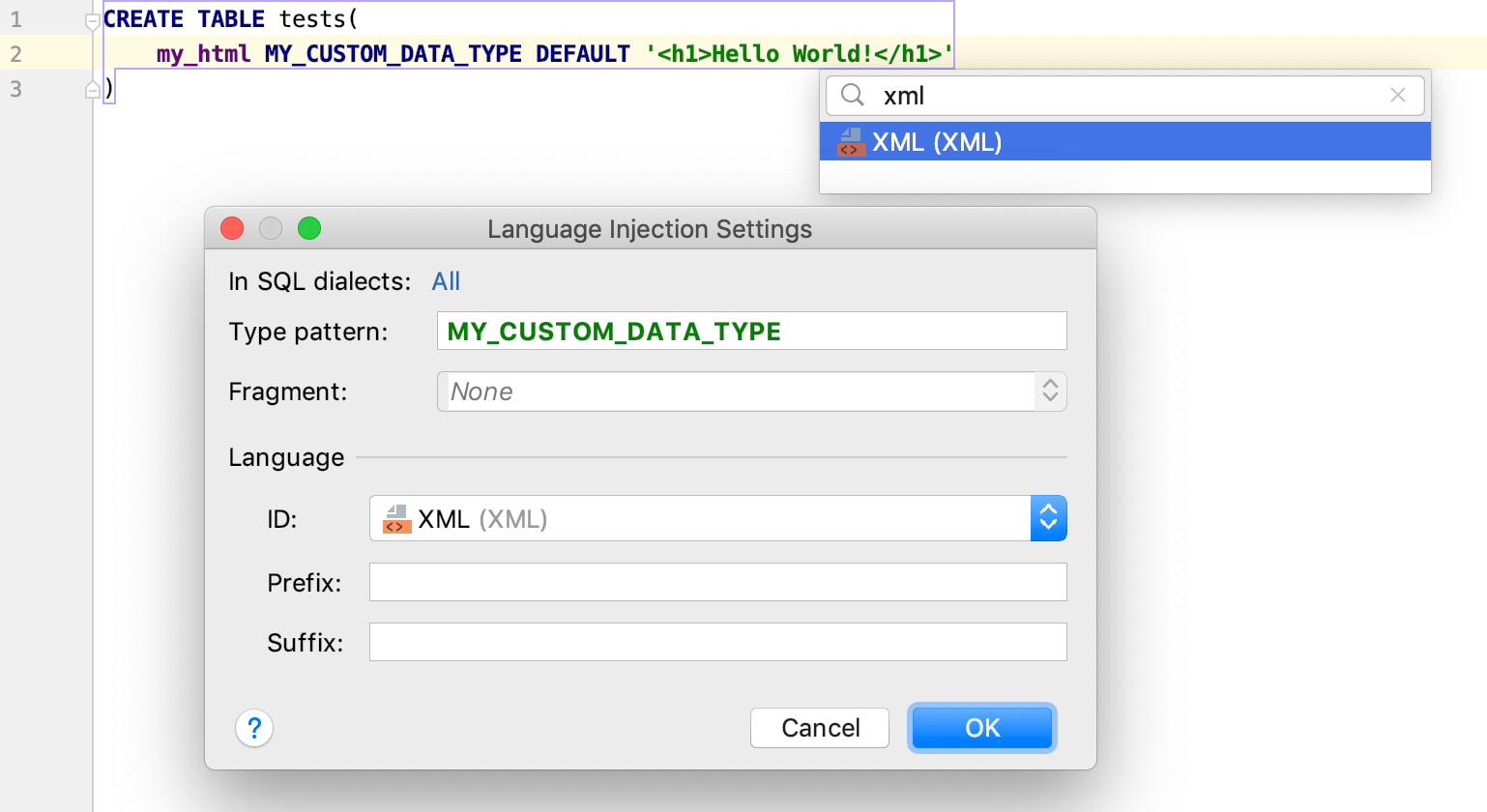 Inject a language for user-defined data types