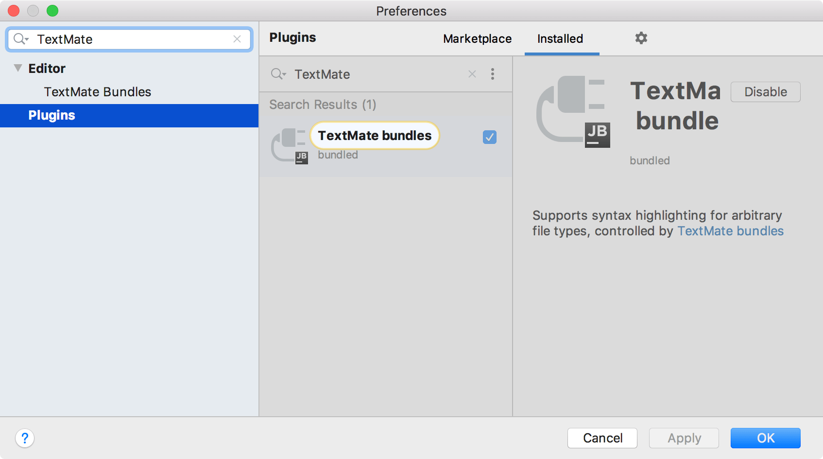 Prebundled TextMate plugin