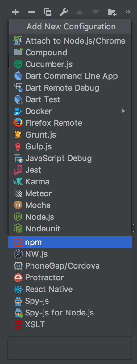 Create run/debug configuration: select the configuration type