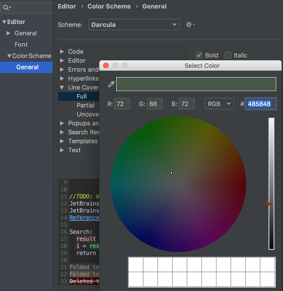 Configuring colors for indicating coverage status in the editor
