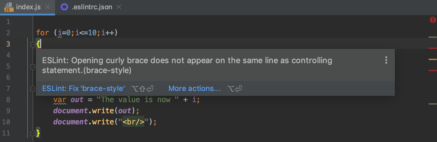 ESLint: errors and warnings are highlighted, the description of a problem is shown in a tooltip.