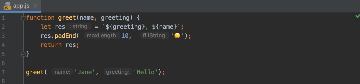 Parameter hints in JavaScript