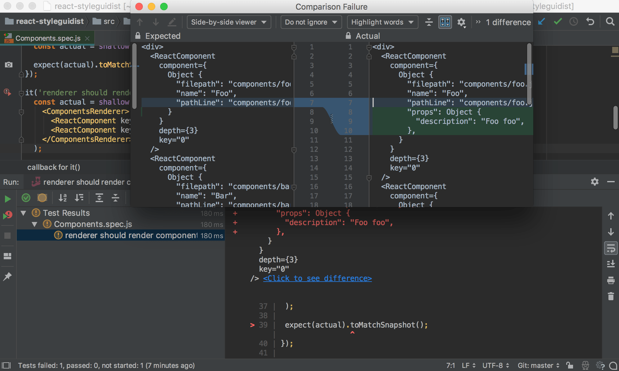 Jest snapshots: compare the expected and actual snapshots in the IntelliJ IDEA Difference Viewer