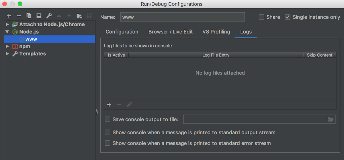 Node.js run/debug configuration: Log tab