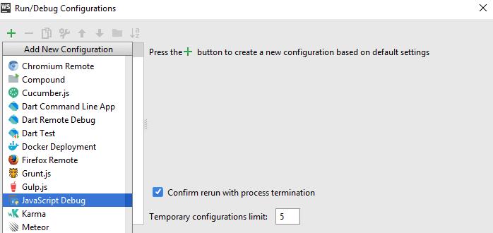 JavaScript Debug configuration