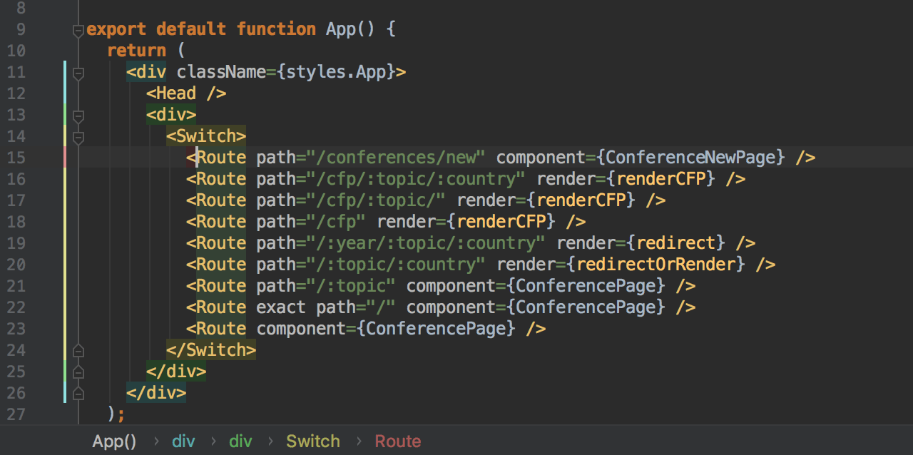 Highlighting and breadcrumbs for JSX tags in a React application