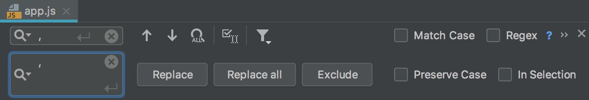 Replace in file pane