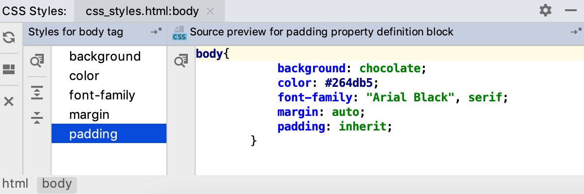 Viewing the styles applied to the tag <body>