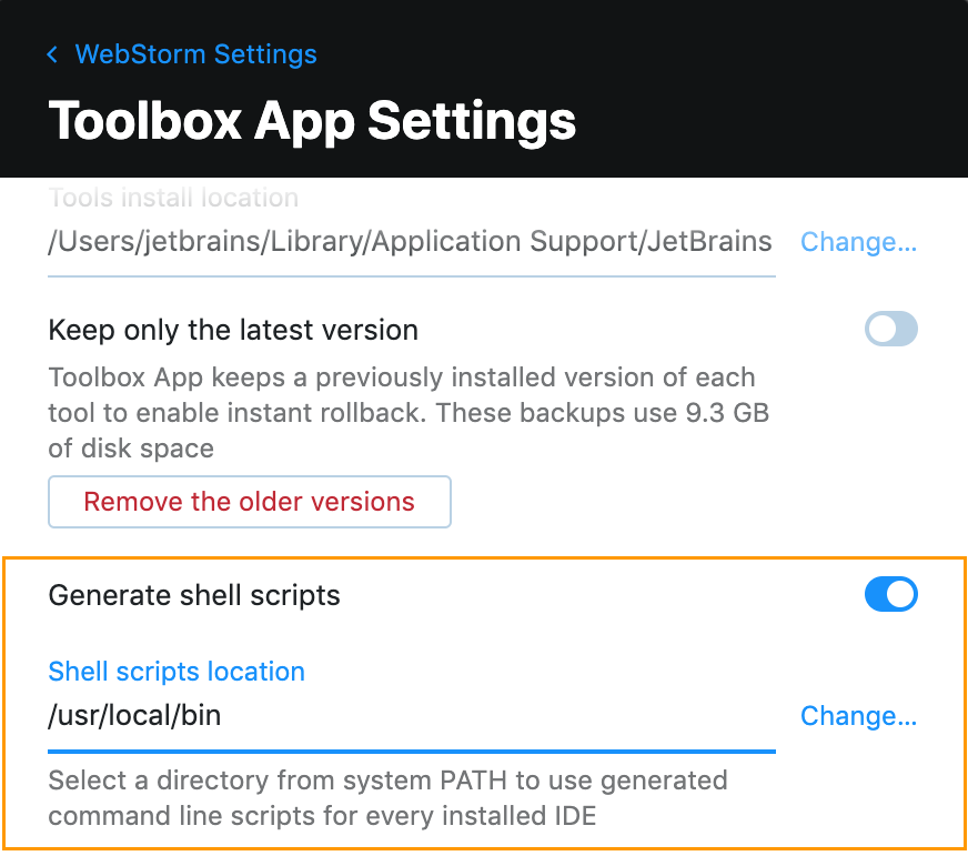 Toolbox App Settings