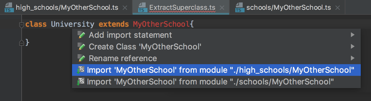Auto import with suggestion from the TypeScript Language Service: multiple choices