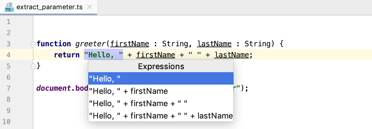 Introduce Parameter: select an expression