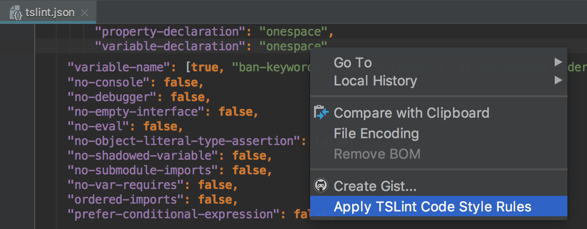Import TSLint code style rules from the editor: context menu
