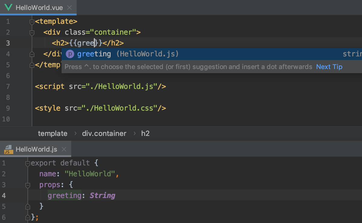 Completion for vue.js components defined in separate files