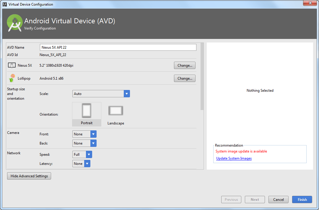 AVD advanced settings