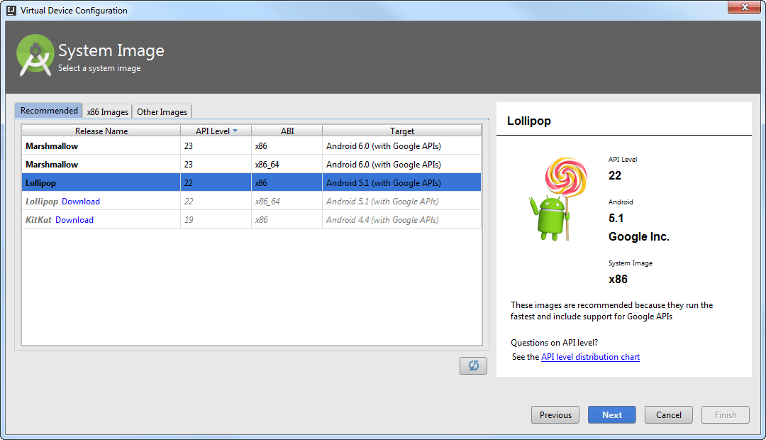 Android AVD manager step2