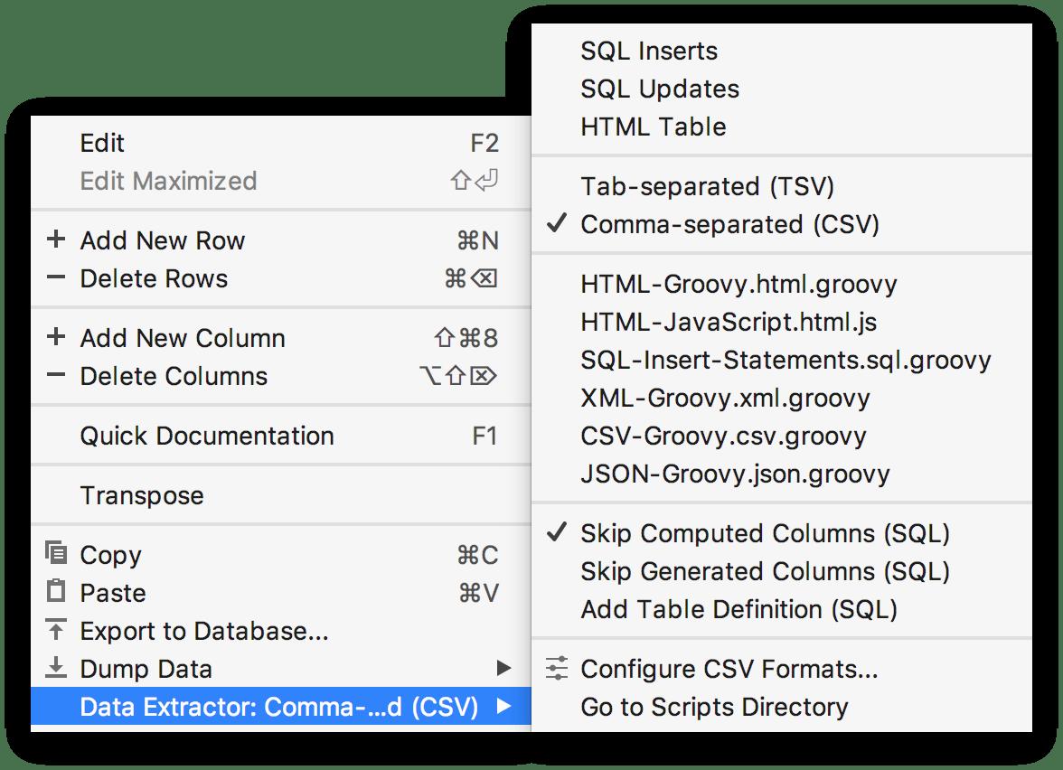 The data editor context menu
