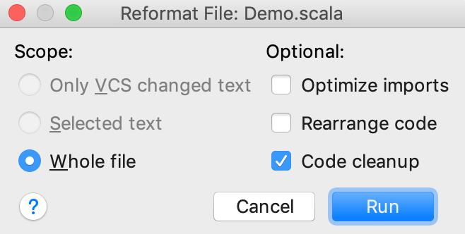 Reformat file dialog