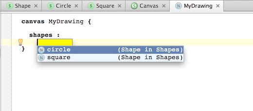 Code completion prompts the two existing shapes