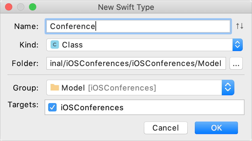 Add a new Swift type