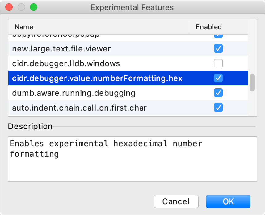 Enable hex view in Experimental features