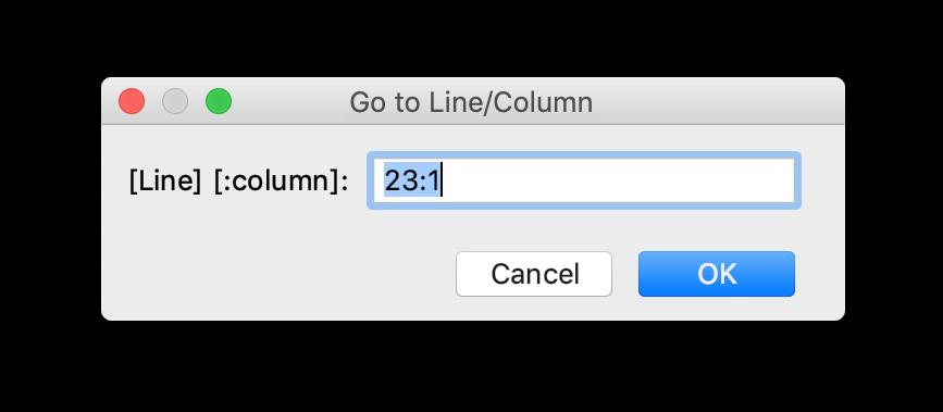 Go to line/column dialog