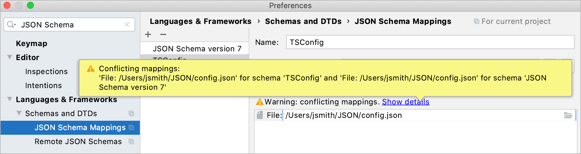 Notification about conflicting schema scopes in Preferences dialog