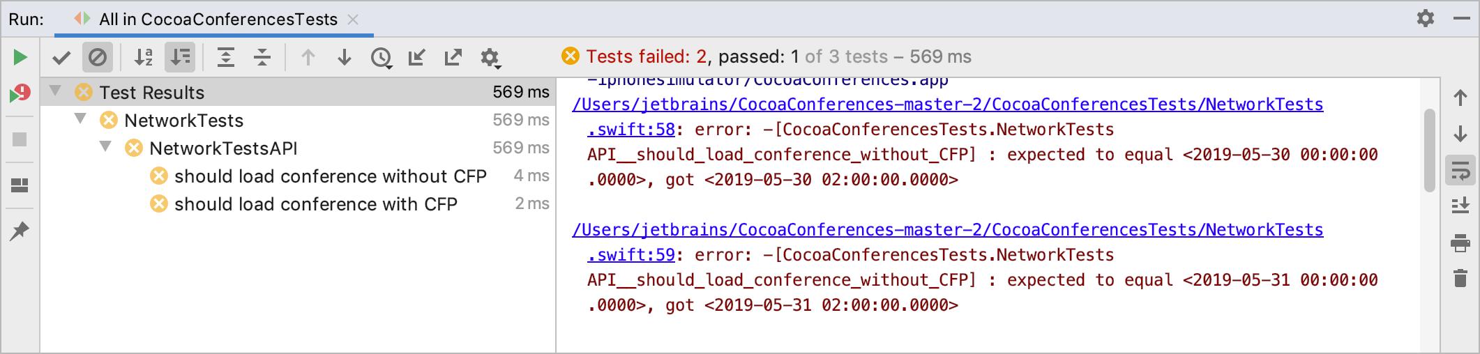 Tests in the Run tool window