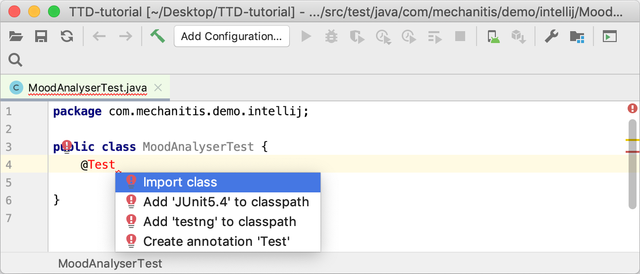 Adding a test library when writing the code for a test
