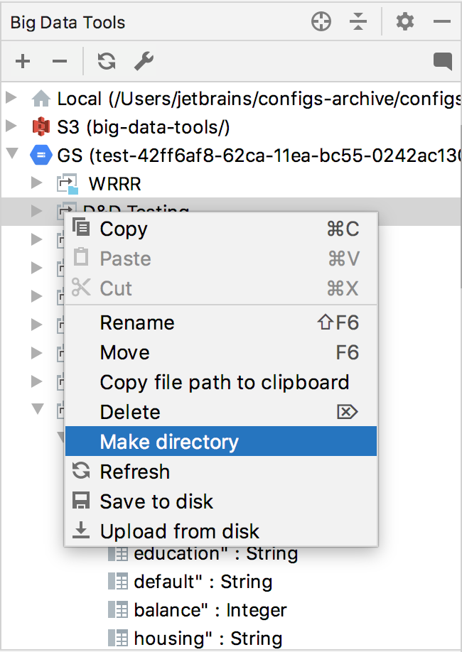 Context menu to preview the structure of servers in BDT window