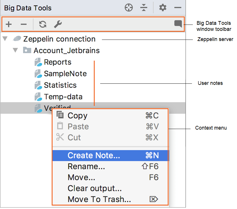 Big Data Tools window