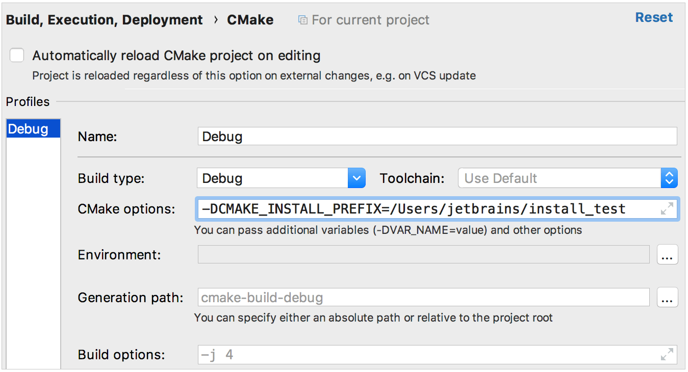 CMake install options
