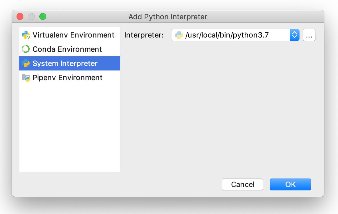 Adding a system interpreter