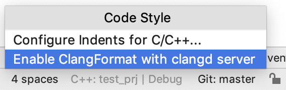 enable clangformat from the code style switcher