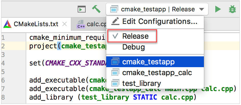cmake profiles in the configuration switcher