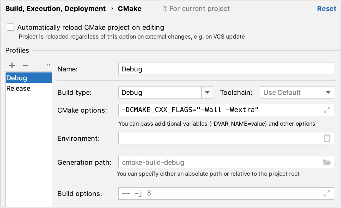 Setting compiler flags in CMake options