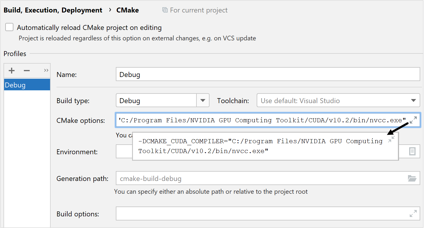 CMake setting for a CUDA project