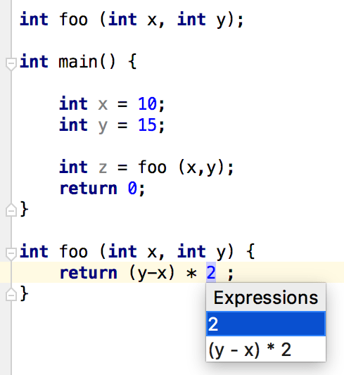 the Extract Parameter expression list
