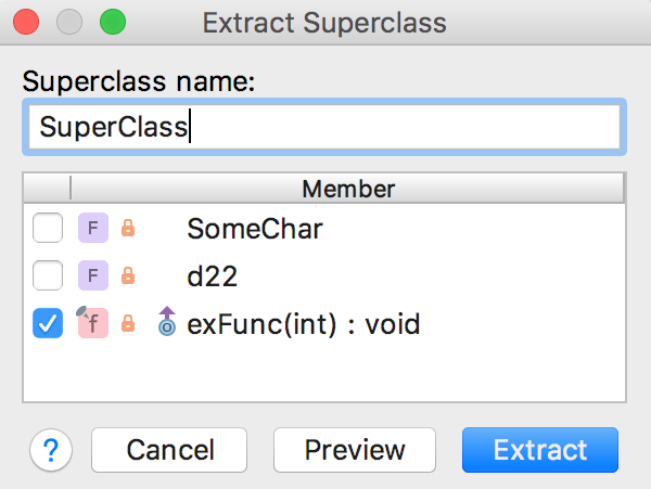 Extract Superclass dialog