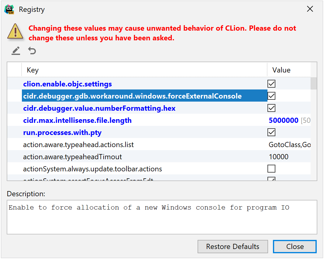 Registry key to enable external GDB console on Windows