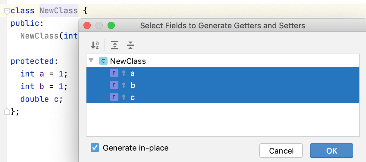 Generate getters and setters