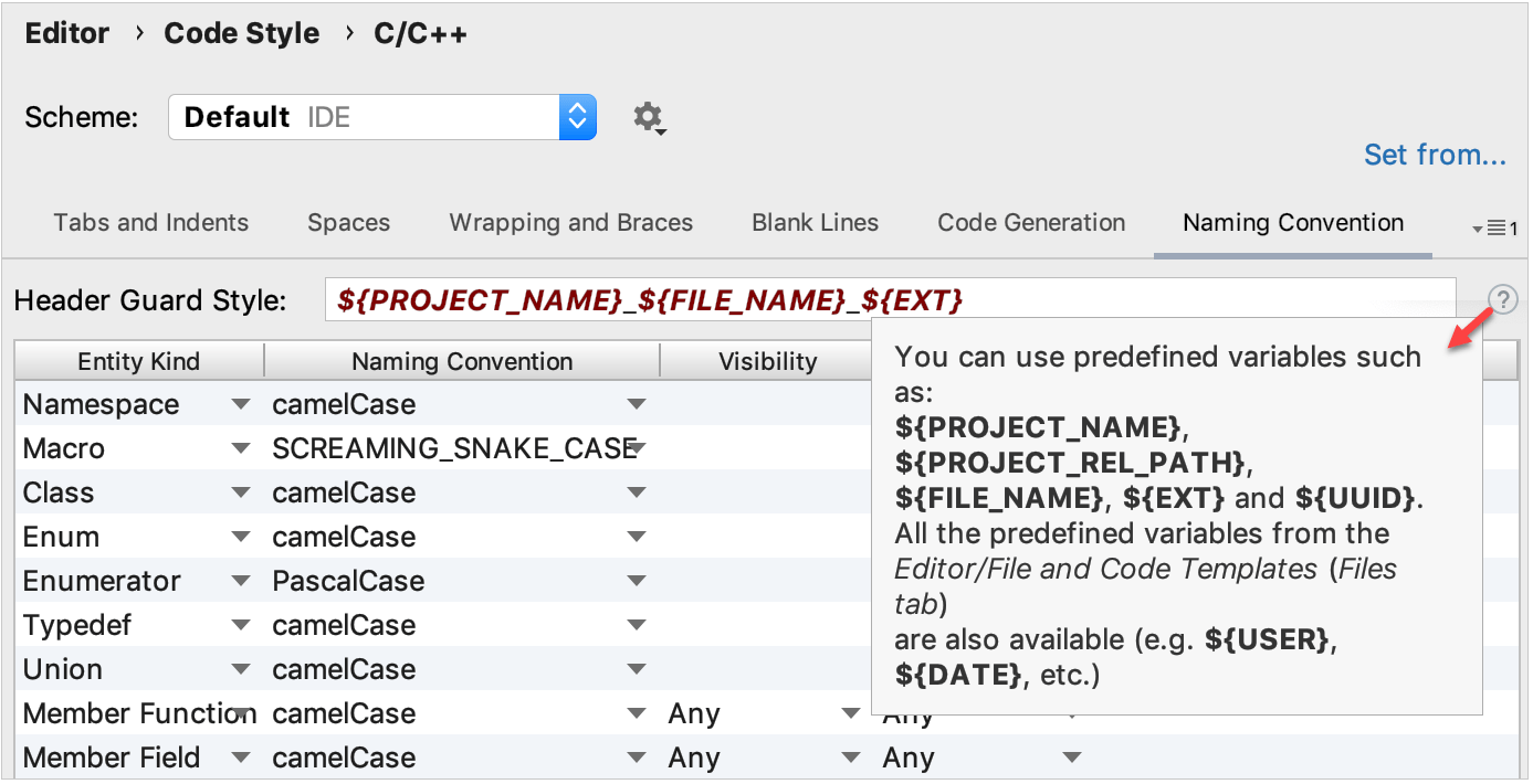 header guard field in naming convention settings