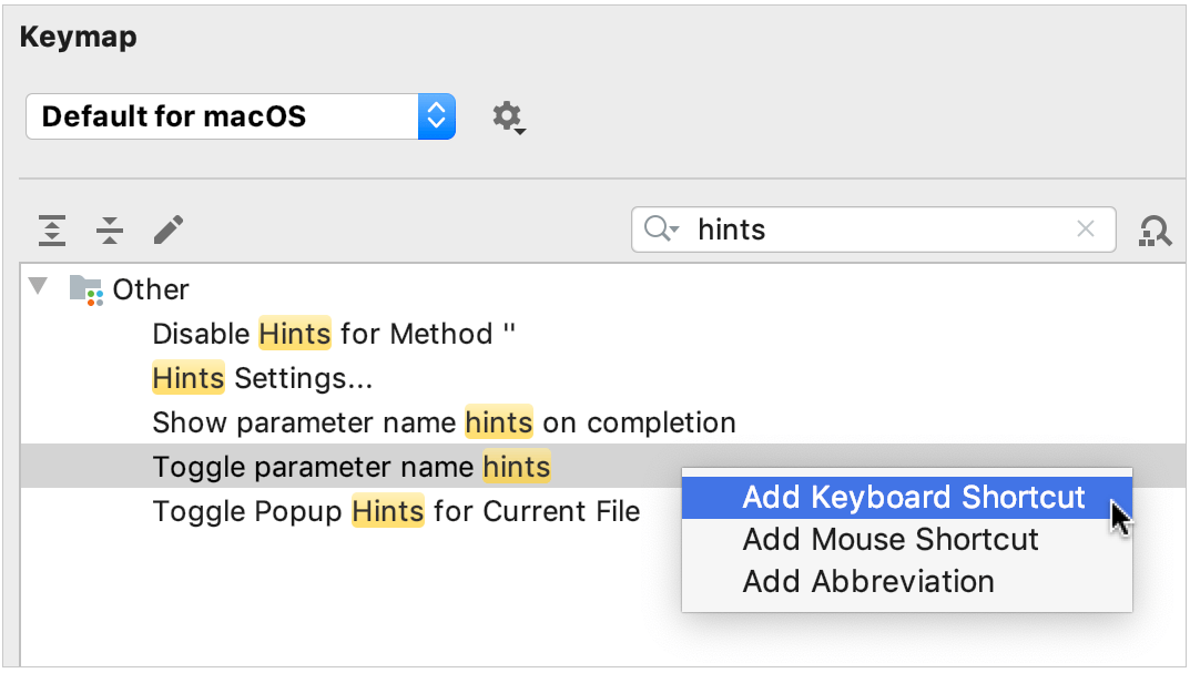 add a shortcut for toggling parameter hints