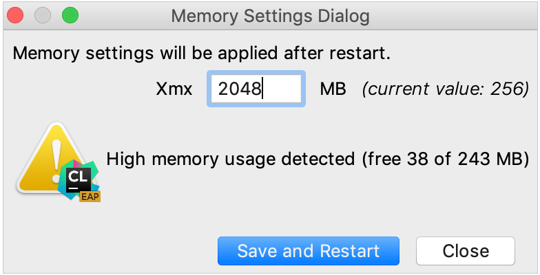change Xmx in Memory Settings