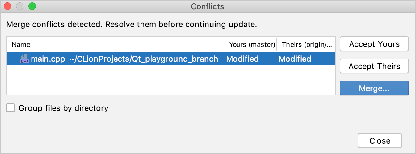 CLion: VCS operation conflicts dialog