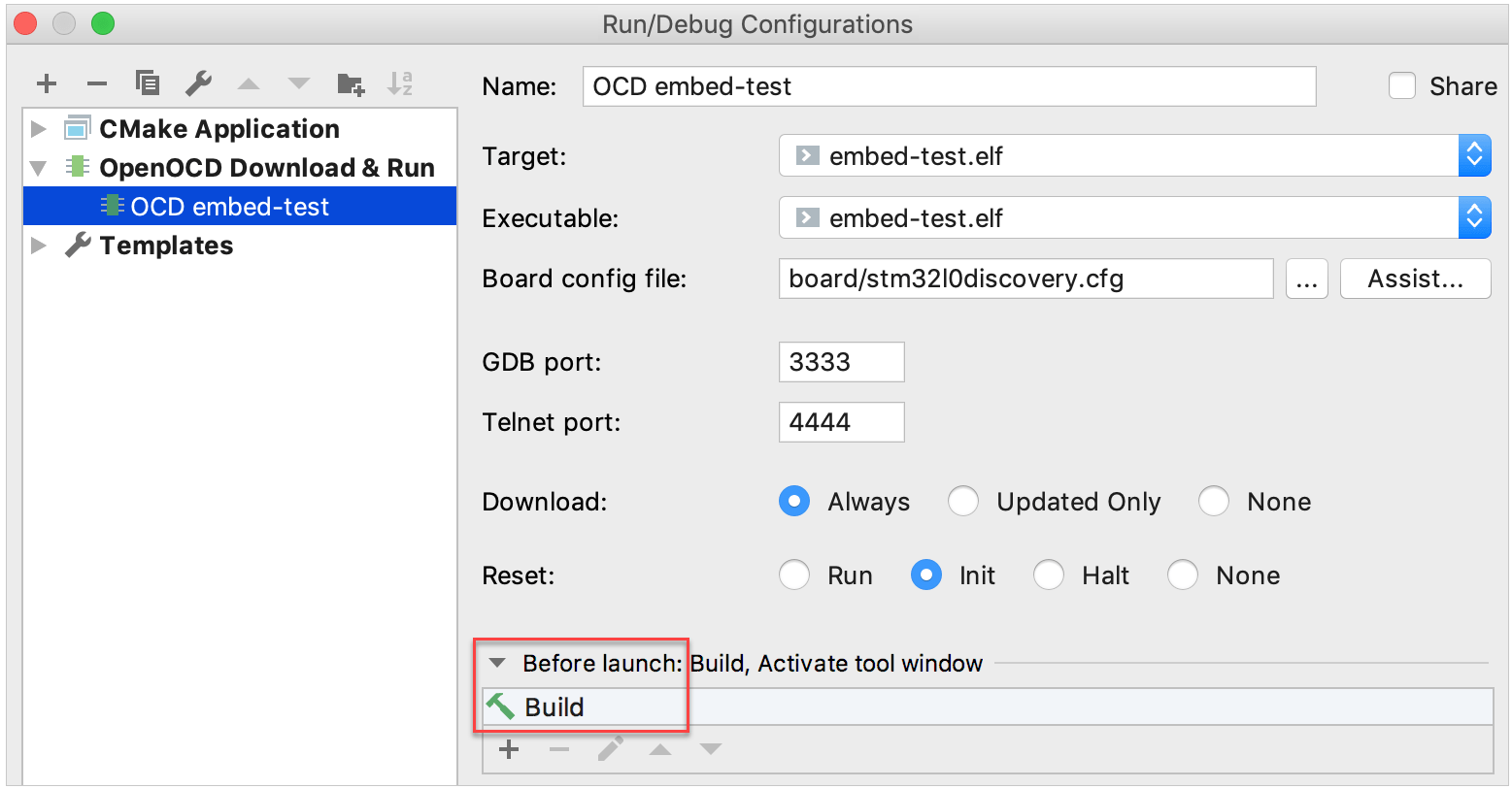 Build before launch in OpenOCD Download & Run configuration