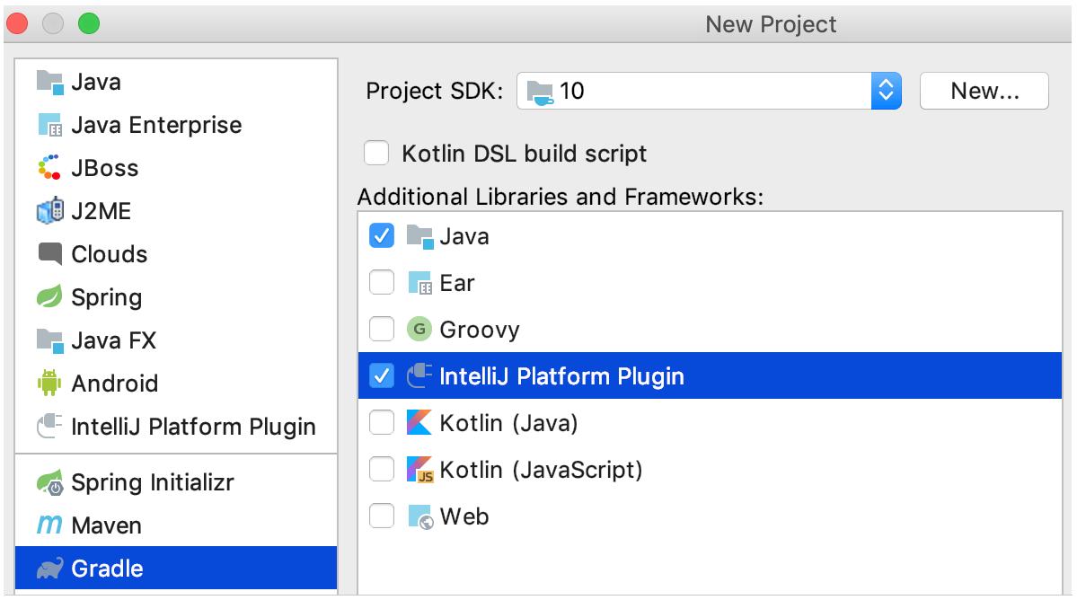 new gradle project for clion plugin
