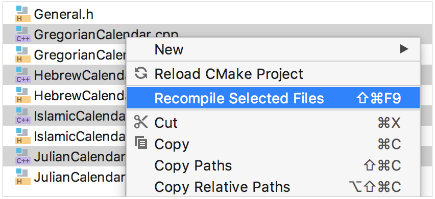 recompile several files in the project tree