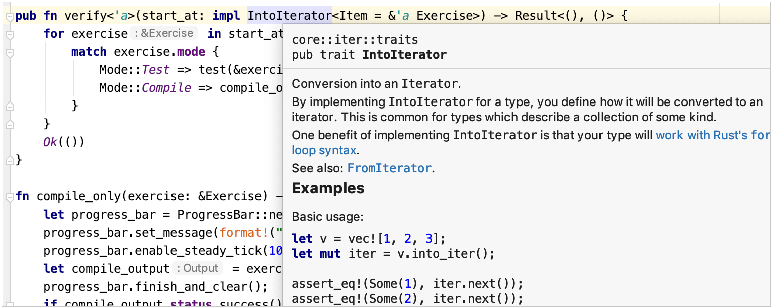 Quick documentation for Rust code